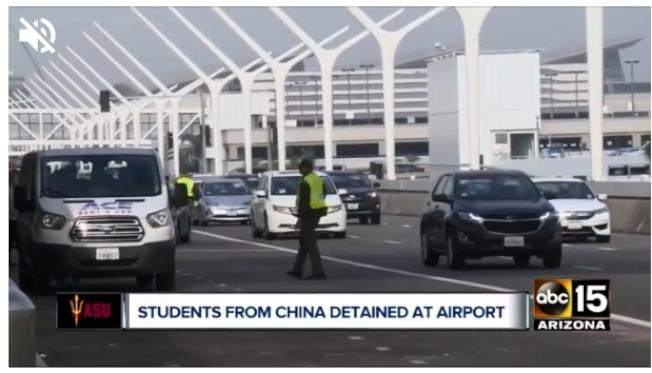 九名在亞利桑那州立大學就讀的中國留學生,日前在洛杉磯國際機場被邊境官員扣留後遣返。圖為洛杉磯國際機場。(截自ABC15影片)