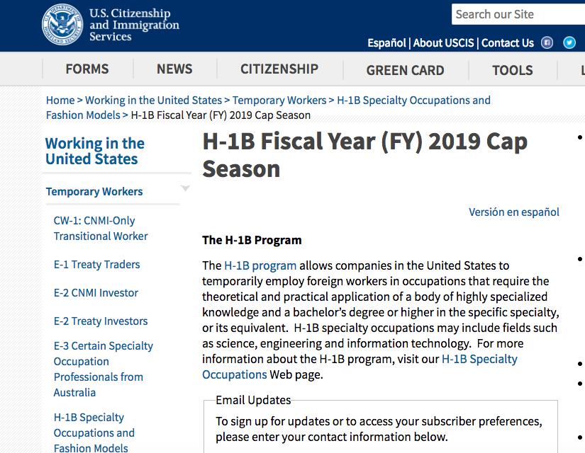 移民局官網的H-1B簽證信息。(取自移民局官網)