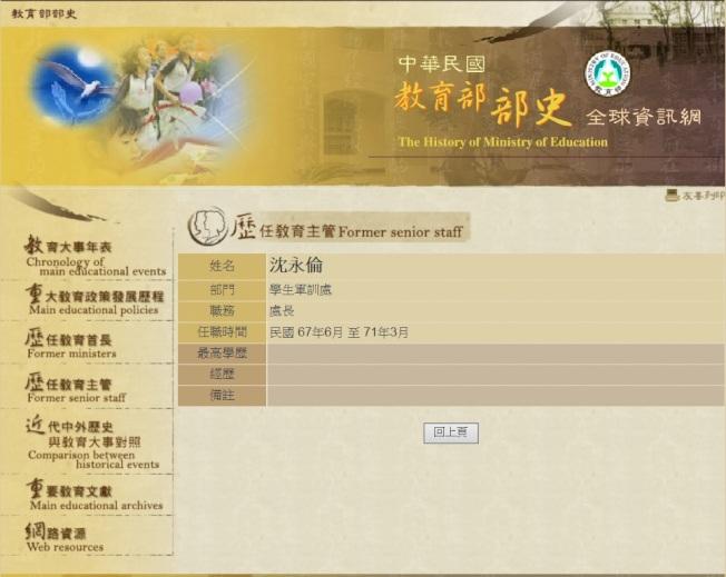 陸軍中將退役的沈友倫,轉任中華民國教育部軍訓處長。(教育部網站)
