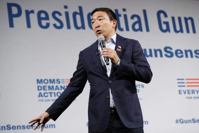 圖為角逐美國民主黨總統提名的台灣移民之子楊安澤(Andrew Yang)。美聯社
