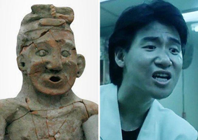 被稱為「中華祖神」的紅山文化整身陶塑人像(左),被網友說長得像香港歌神張學友(右)。(取自觀察者網)