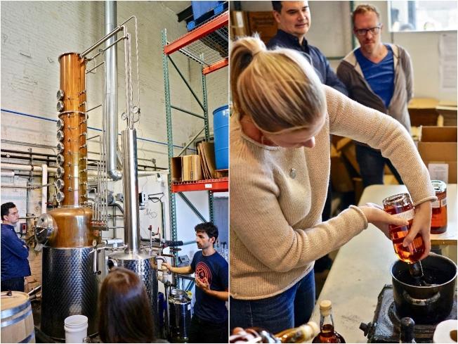 Breuckelen Distilling的特色是工廠裡獨一無二的蒸餾器(左),並可實際練習蠟封瓶口操作(右)。