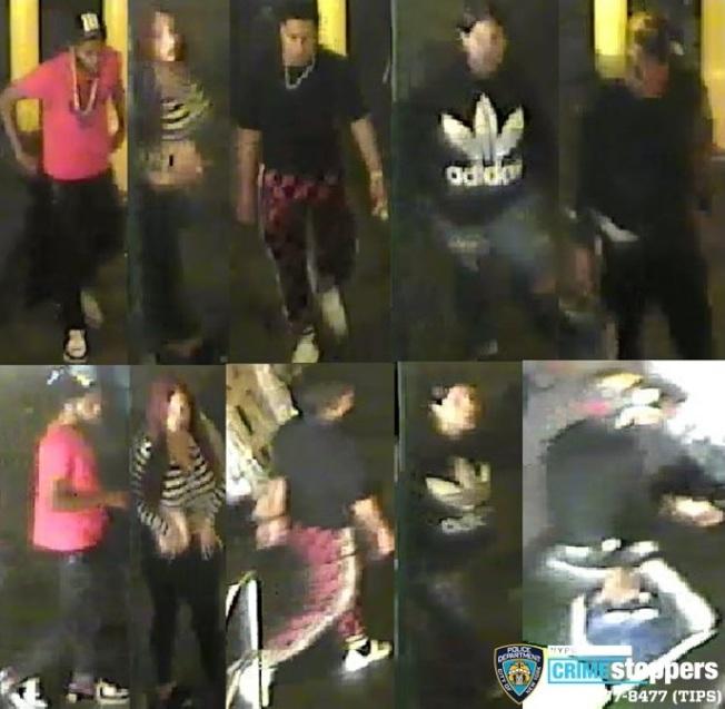 市警通緝五名在地鐵上搶劫行兇的嫌犯。(市警提供)