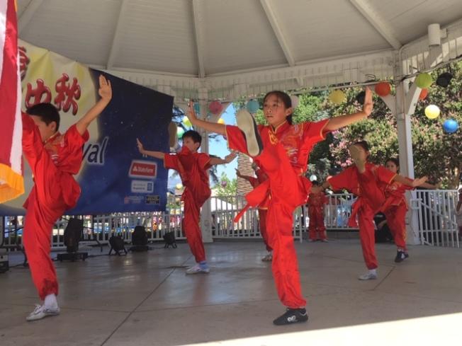 孩子們表演中國功夫。(記者楊青/攝影)