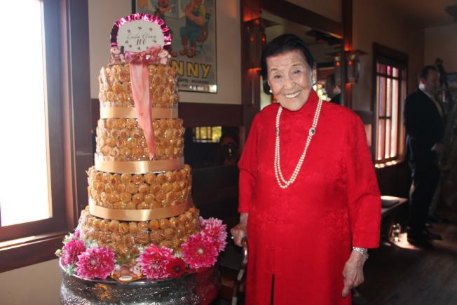江孫芸依然身體硬朗,慶祝自己100歲虛歲生日。(記者李晗 / 攝影)