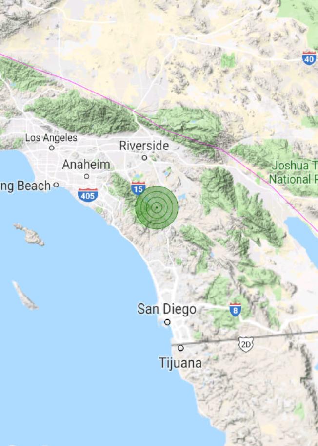 河濱縣威度瑪10日下午發生芮氏規模4.0地震。(USGS)