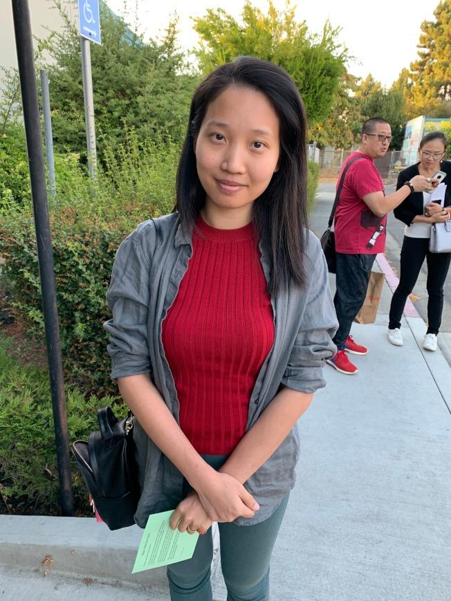 居民Tina Xu認為,這次遴選過程不公平。(記者李榮/攝影)