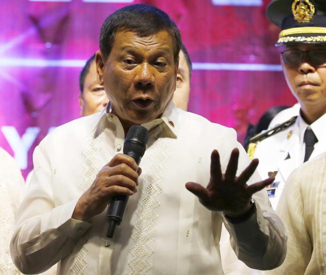 菲國總統杜特蒂。美聯社