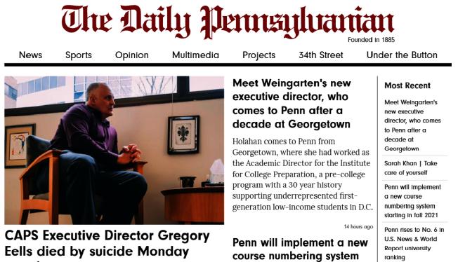 賓大校報官網首頁11日刊出CAPS主任自殺的噩耗。(翻拍自The Daily Pennsylvanian)