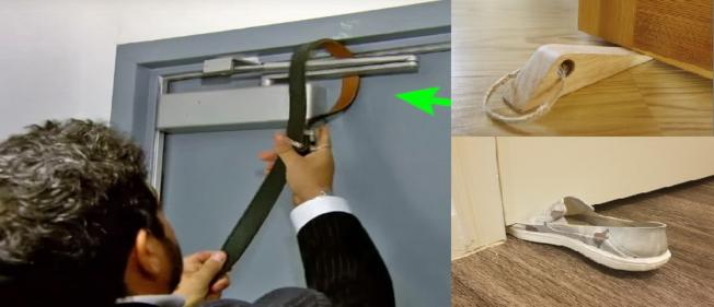 鞋子、門楔子都可以用來卡緊門,也可用皮帶把門的開合裝置捆起來。(截自投影片組圖)