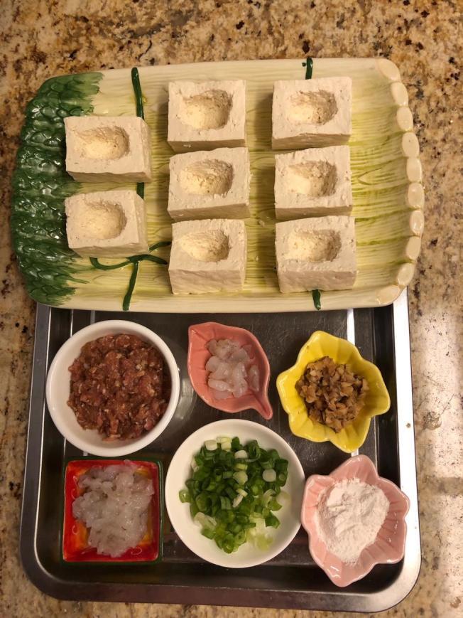 百花釀豆腐材料