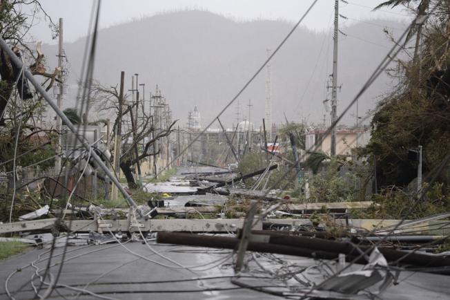 2017年颶風瑪莉亞襲擊波多黎各後,許多電線桿與纜線掉落在地面。(美聯社)