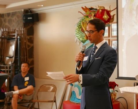 John Gabriel曾出席競選活動,與華裔居民見面會。(記者李雪/攝影)