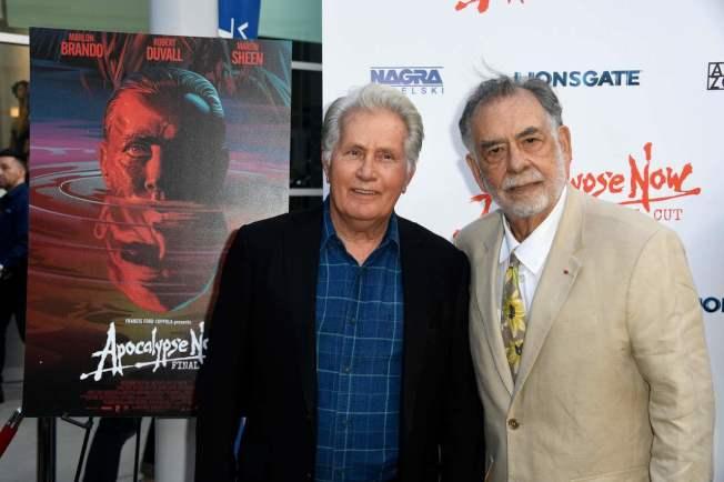 好萊塢大導演法蘭西斯柯波拉(右)與影星馬丁辛(左)今年8月12日聯袂出席《現代啟示錄最終決定版》在好萊塢的首映會,距離電影上映正好40年。圖╱GettyImages