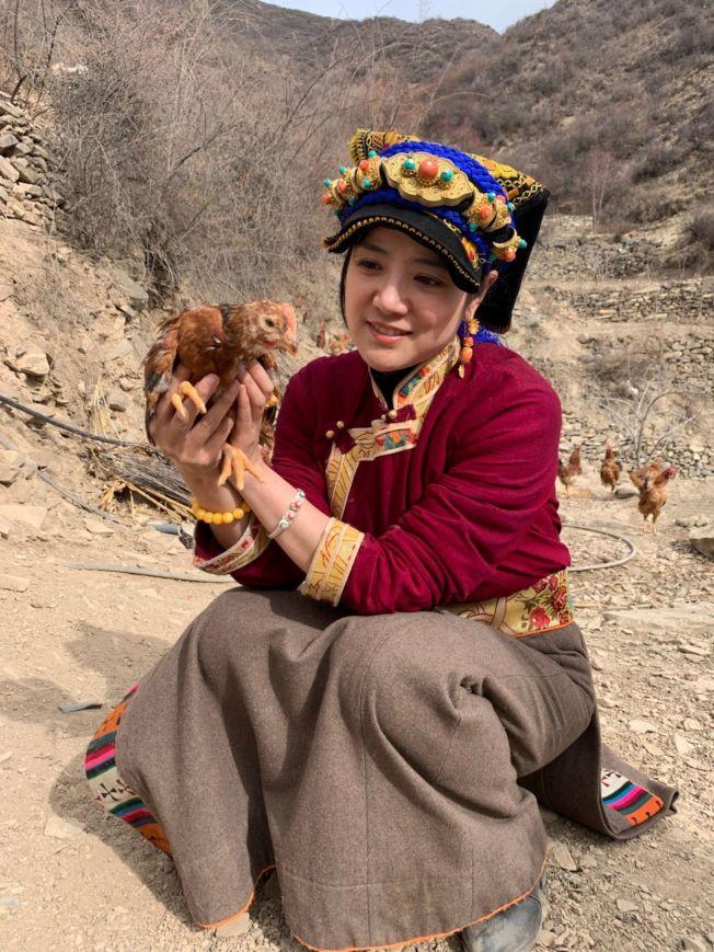 在抖音上被稱作「嘉絨姐姐阿娟」的何瑜娟幫助藏區銷售農產品。(取材自微博)
