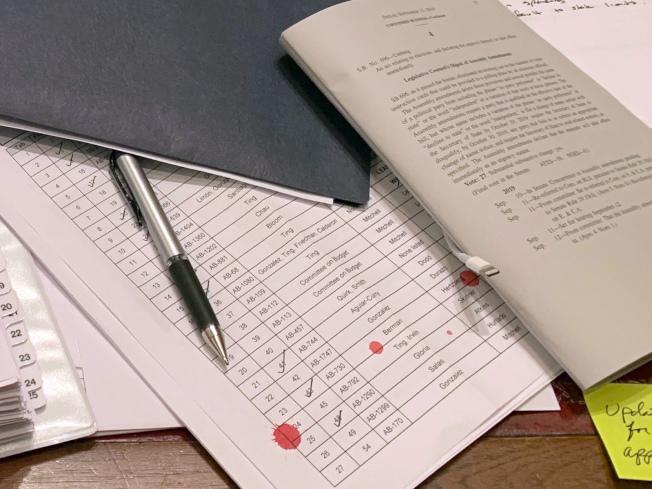 州參議員葛拉茲辦公桌上文件沾到「血滴」。(美聯社╱葛拉茲提供)