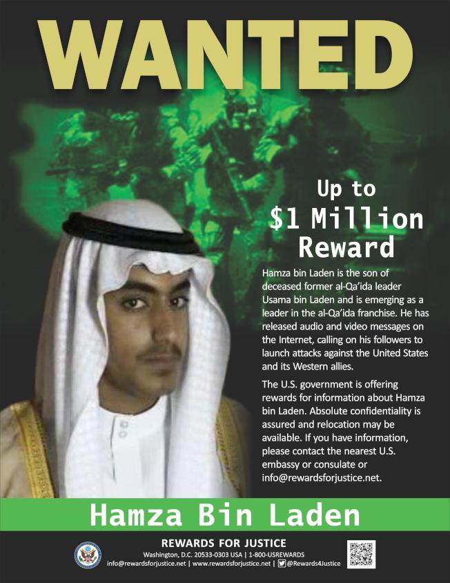 美國曾發布國際通緝令,懸賞100萬美元捉拿哈姆薩。(歐新社)