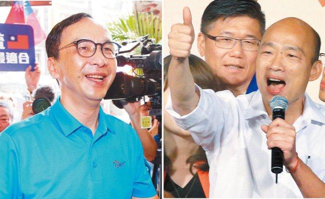 國民黨總統參選人韓國瑜(右)昨拜會前主席朱立倫(左),氣氛融洽。圖/聯合報系資料照片
