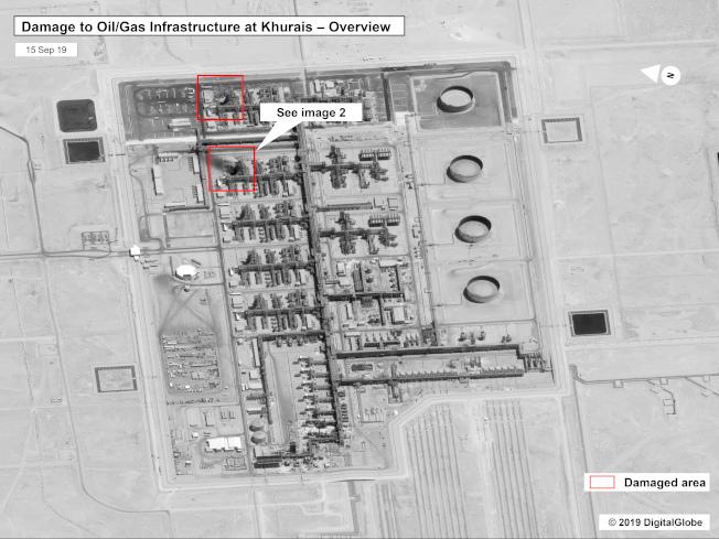 美國政府與「全球數位」15日公布的偵察衛星照片顯示,沙烏地石油公司阿布蓋格煉油廠與胡伊拉斯油田,遭到無人機攻擊,損失慘重。圖為胡伊拉斯油田的衛星圖,紅色為被攻擊處。(美聯社)