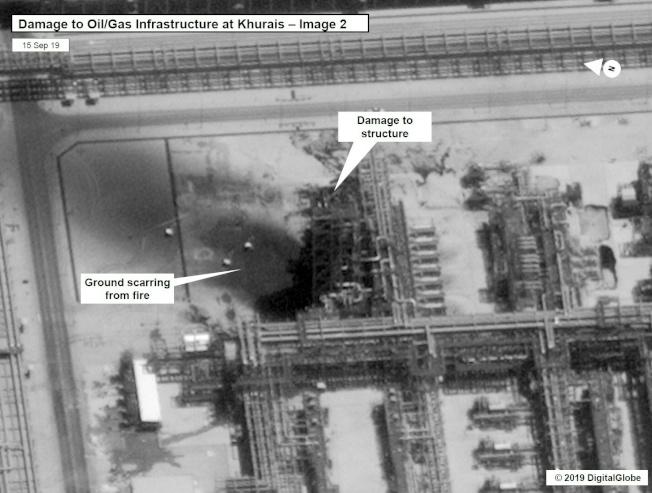 衛星圖片顯示沙國油田遭受重創。(Getty Images)