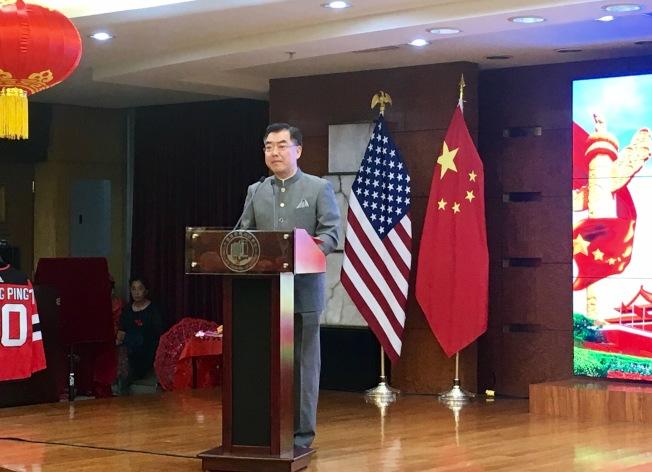 中國駐紐約總領事黃屏致辭。(記者鄭怡嫣 / 攝影)