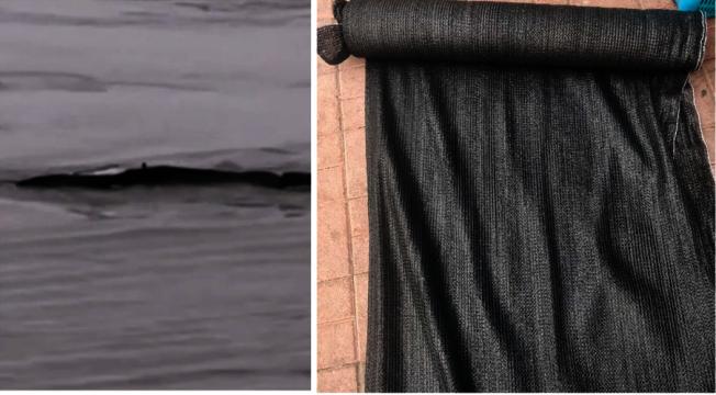 網路瘋傳的三峽「水怪」(左),其「真身」可能是防曬網(右)。(取材自微博)