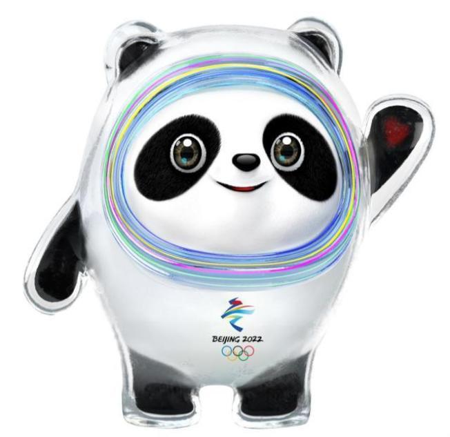 以熊貓為原型設計的2022北京冬奧吉祥物「冰墩墩」。(取材自人民網)