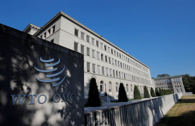 WTO在一項跟歐盟補貼空中巴士公司相關的爭議中,將允許美國向歐盟課徵關稅。圖為日內瓦的WTO總部。路透