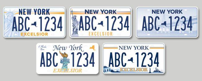 新車牌更換計畫中的五款候選車牌。(取自紐約州政府官網)