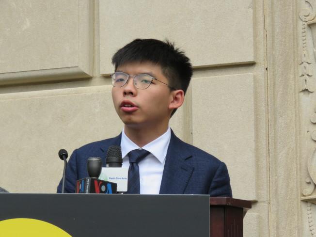 香港眾志秘書長黃之鋒訪美國華府,盼美國政府更支持香港。(華盛頓記者張加/攝影)