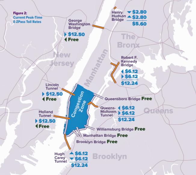 目前新州往曼哈頓的收費遠高於其他地區,圖為紐約EZ-Pass的收費標準。(取自Regional Plan Association)