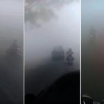 印尼霾害嚴重 騎車如置五里霧中 只能不斷按喇叭
