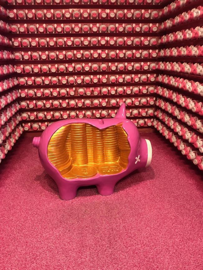 粉色小豬撲滿區。