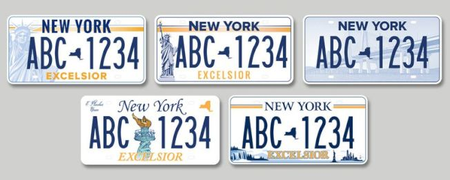 新車牌更換計畫的五款候選車牌。(取自紐約州政府官網)