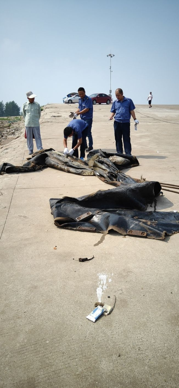 「三峽水怪」被打撈上岸發現是廢棄的橡皮氣囊。(取材自澎湃新聞)
