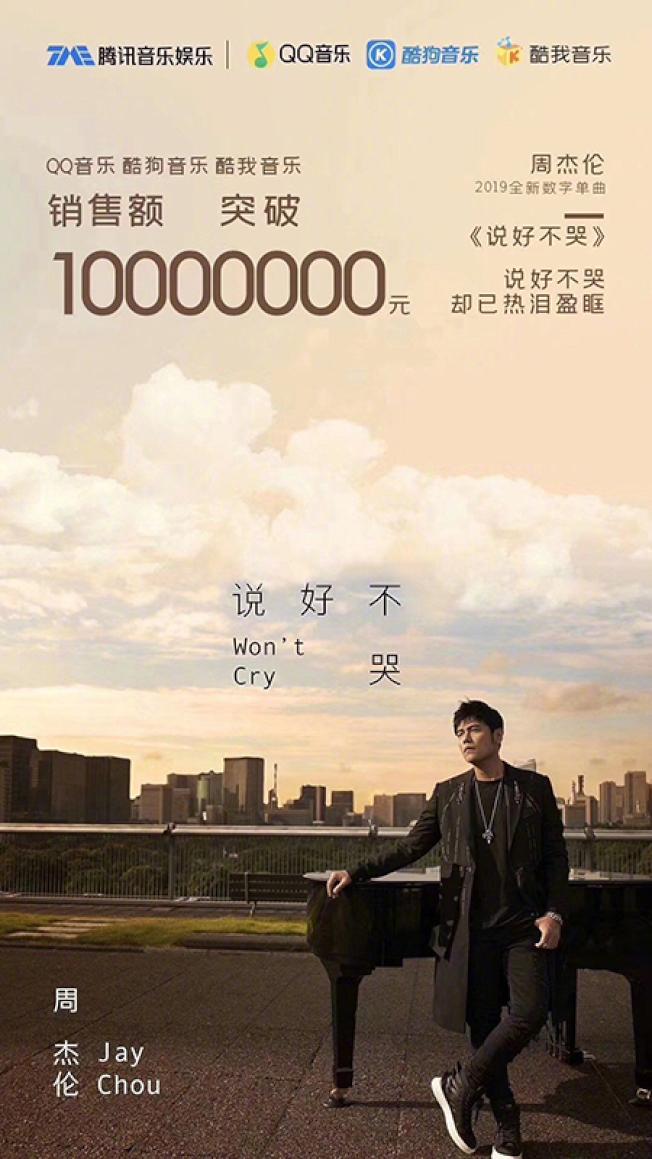 周杰倫新歌《說好不哭》16日上線,短短2小時,在大陸三大網路音樂平台的銷售額就突破人民幣1000萬元。(取材自一財網)