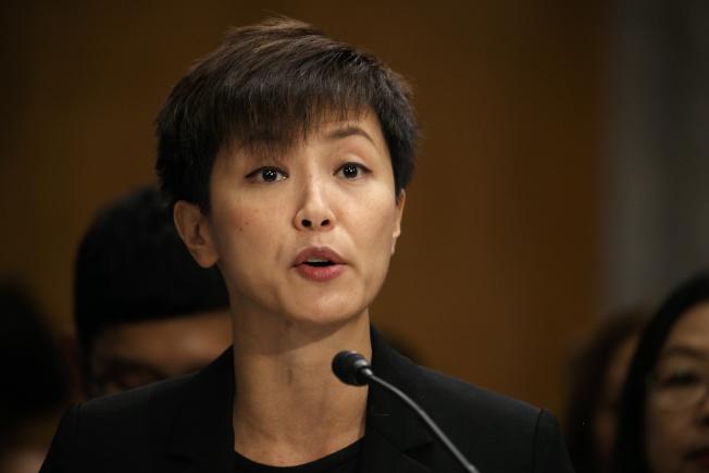 香港歌手何韻詩在美國國會作證。(美聯社)