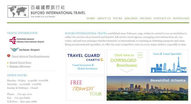 Buford   百福旅行社的網站www.bufordtravel.com資料豐富。