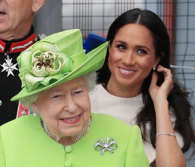 英女皇與孫媳婦梅根相處看來沒問題,但她卻禁止旁人跟她談梅根。圖/路透資料照片