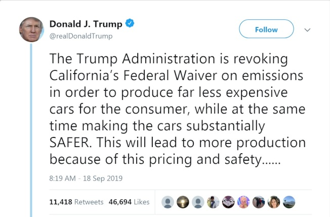 川普總統推文宣布,撤銷聯邦特許,加州不能再自行制定排放廢氣標準。(川普推特)
