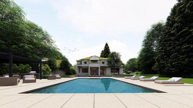 從游泳池眺望柯瑞新豪宅。(示意圖)