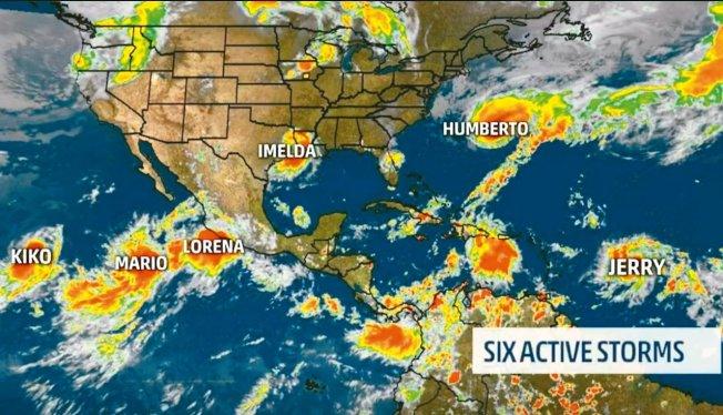 北美日前一度共有六個熱帶風暴。 圖/取自weather.com