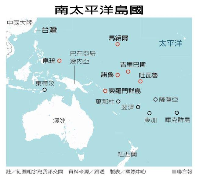 南太平洋島國相關位置圖。(路透)