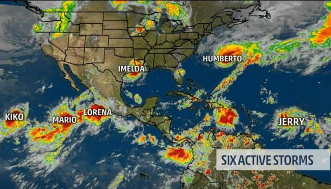 北美日前一度共有六個熱帶風暴。(取自weather.com)