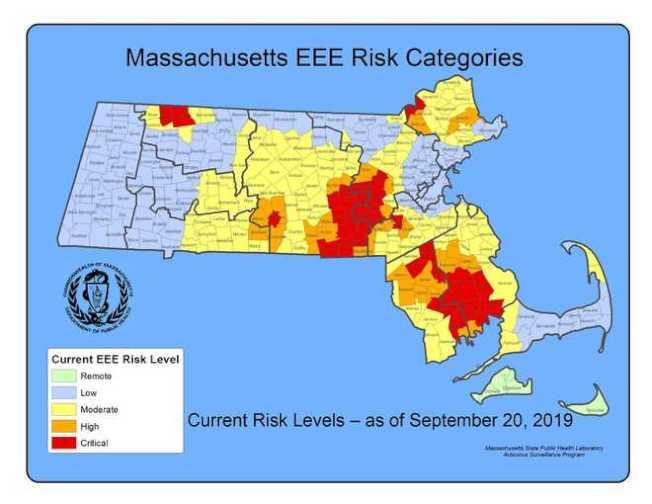 麻州公共衛生署公布EEE感染風險程度分布圖,紅色為嚴重風險區域。(州府提供)