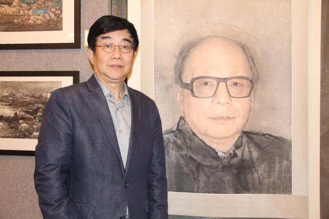 虞世超展出繪製的王己千肖像畫。(記者賴蕙榆/攝影)