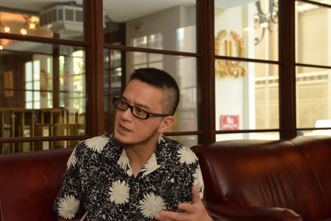 香港歌手黃耀明曼哈頓舉辦「明曲晚唱」演唱會。(記者張晨/攝影)