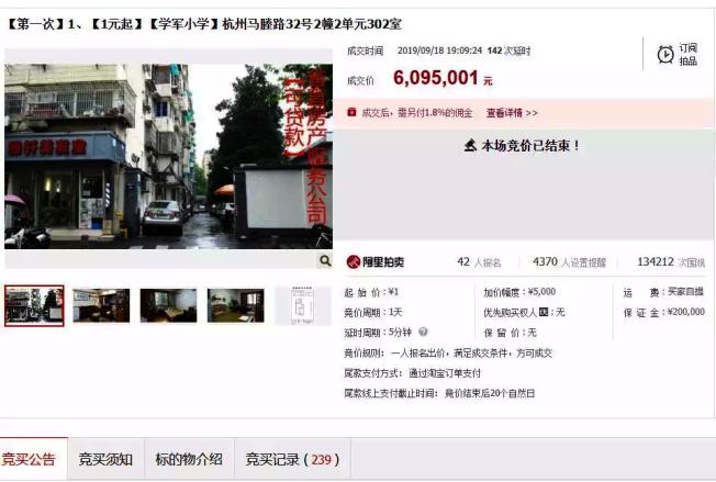 杭州一間房在拍賣網上開出一元起標,吸引逾萬人「賞屋」。(取材自每日經濟新聞)