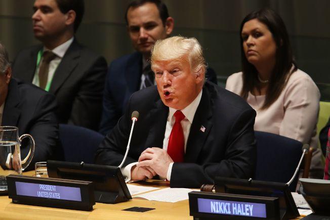 川普總統下周將出席聯合國大會,但他有許多外交承諾未實現。圖為川普去年出席聯大的資料照片。(Getty Images)
