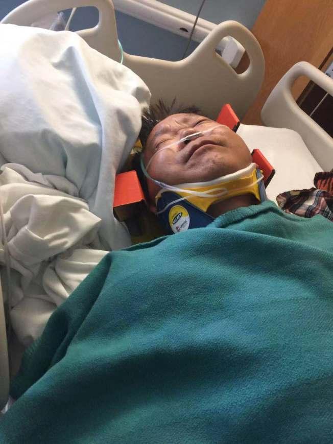 猶他州車禍,受傷的中國遊客在醫院接受治療。(讀者提供)